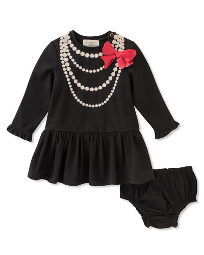pearl necklace trompe l'oeil dress w/ bloomers, size 12-24 months