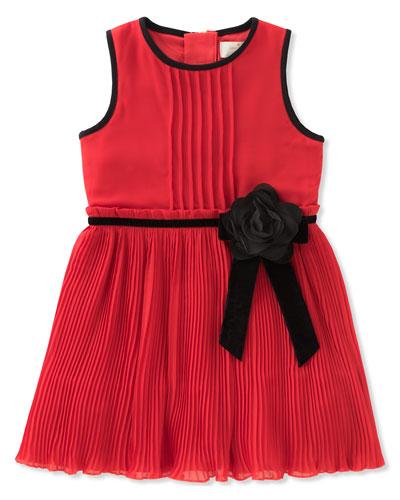 girls' pleated chiffon dress, size 7-14