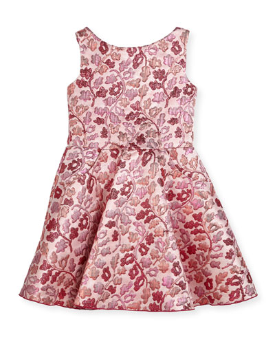 Berry Blossom Metallic Brocade Swing Dress, Size 2-6X