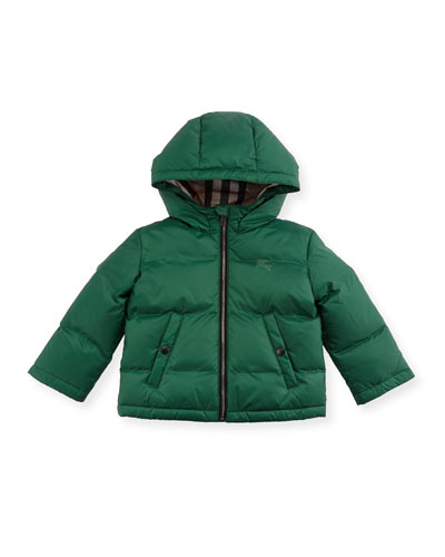 Rio Hooded Puffer Jacket, Green, Size 6M-3Y