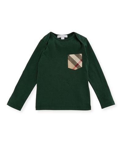 Callum Long-Sleeve Jersey Tee, Green, Size 6M-3Y