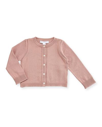 Rheta Cotton Button-Front Cardigan, Rose, Size 6M-3