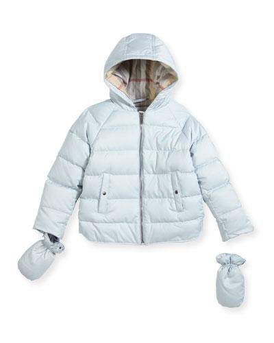 Rilla Hooded Raglan Puffer Jacket, Blue, Size 6M-3Y