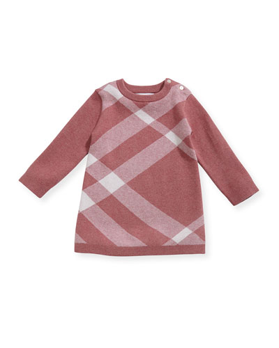 Natty Mega Check Cashmere-Cotton A-Line Dress, Pink, Size 3-24 Months