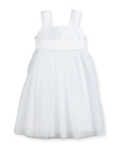 Venice Pleated Straps V-Back Dress, White, Size 7-10