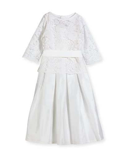 Fable Silk Dress w/ Lace Overlay Top, Size 7-10