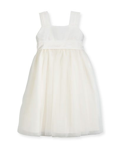 Venice Pleated Straps V-Back Dress, Ivory, Size 4-6