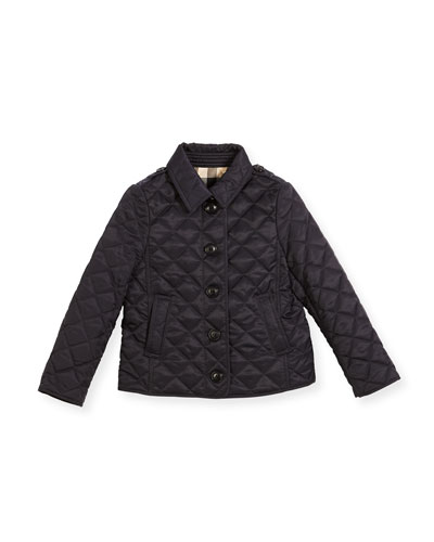 Ashurst Quilted Button-Front Jacket, Navy, Size 4-14
