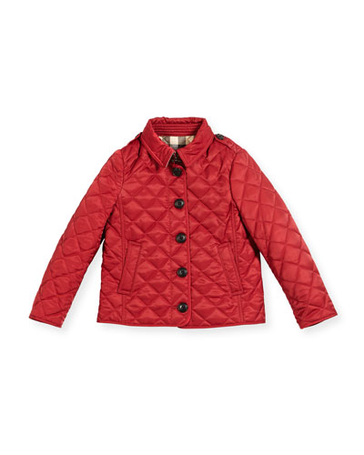 Ashurst Quilted Button-Front Jacket, Red, Size 4-14