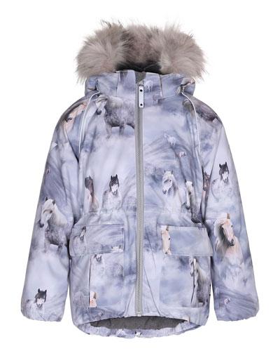 Cathy Horse Jacket w/ Faux-Fur Trim, Size 4-10