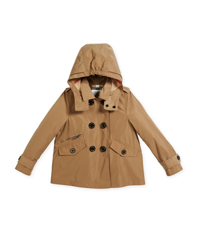 Margeretta Double-Breasted Trenchcoat, Beige, Size 4-14