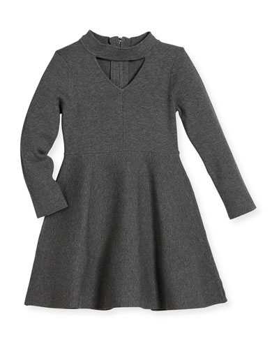Cutout Long-Sleeve Flare Dress, Size 4-7