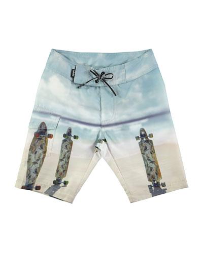 Nalvaro Skateboards Beach Board Shorts, Size 2T-10