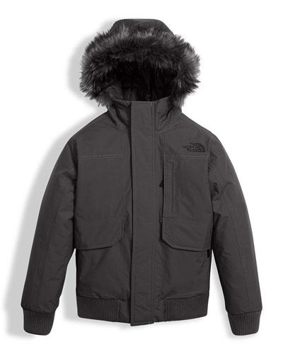 Gotham Down Hooded Jacket w/ Faux-Fur Trim, Gray, Size XXS-XL
