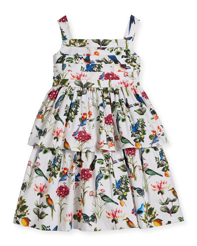 Botanical Birds Pleated Tiered Dress, Size 2-14