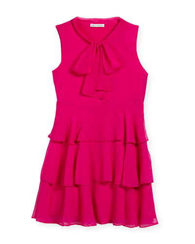 Chiffon Bow Tiered Dress, Size 4-14
