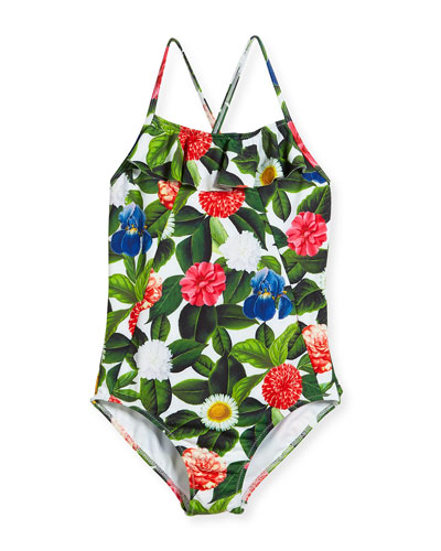 Flower Jungle Ruffle One-Piece Swimsuit, Size 2-14