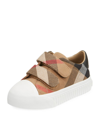Belside Check Sneaker, Beige/White, Youth
