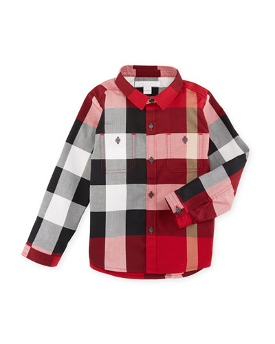 Mini Camber Check Shirt, Red, Size 6M-3