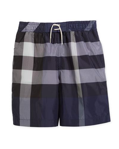 Jeffries Check Swim Trunks, Blue, Size 4-14