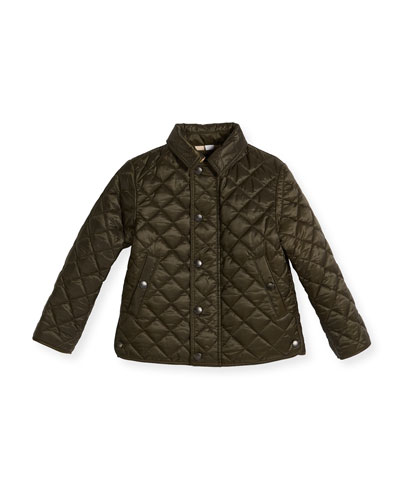 Luke Quilted Snap-Front Jacket, Olive, Size 4-14
