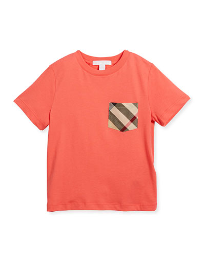 Check-Pocket Jersey Tee, Pink, Size 4-14
