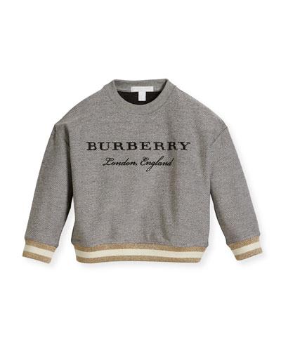 Eli Logo Sweatshirt w/ Metallic Hem, Gray, Size 4-14
