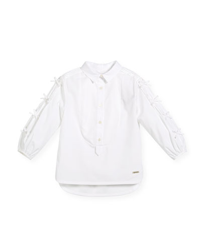 Beladine Collar Blouse w/ Pintucked Bow Sleeves, Size 4-14