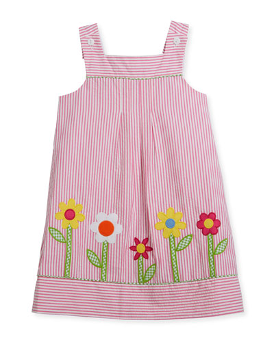 Check Seersucker Flower-Border Dress w/ Bloomers, Size 2-6X