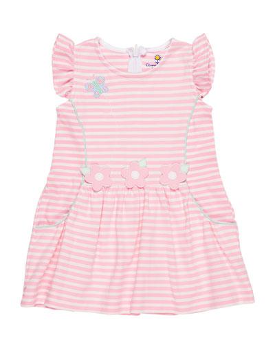 Stripe Knit Butterfly & Flower Dress, Size 2-4