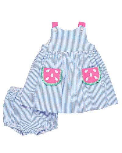 Seersucker Watermelon Dress w/ Bloomers, Size 3-24 Months