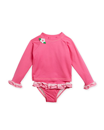 Two-Piece Flower Ruffle Rashgaurd Swimsuit, Size 6-24 Months