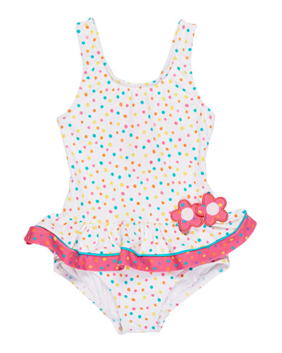 Confetti Dot One-Piece Ruffle Swimsuit, Size 6-24 Months