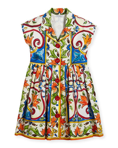 Maiolica-Print Poplin Dress, Size 8-12
