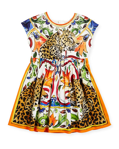 Maiolica & Cheetah Print Cotton Dress, Size 4-6