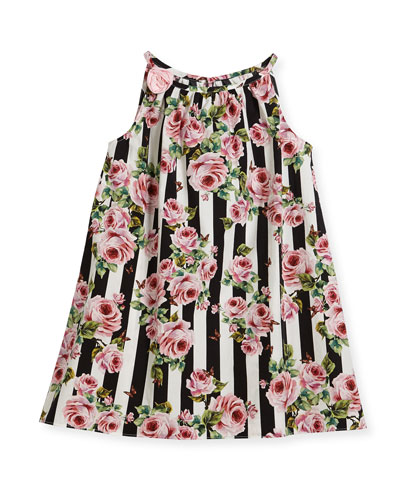 Poplin Stripe Floral Dress, Size 2-6