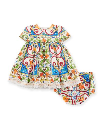 Maiolica-Print Poplin Dress w/ Bloomers, Size 12-30 Months