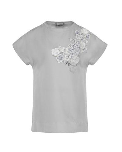 Maglia Flower & Logo Short-Sleeve T-Shirt, Size 8-14