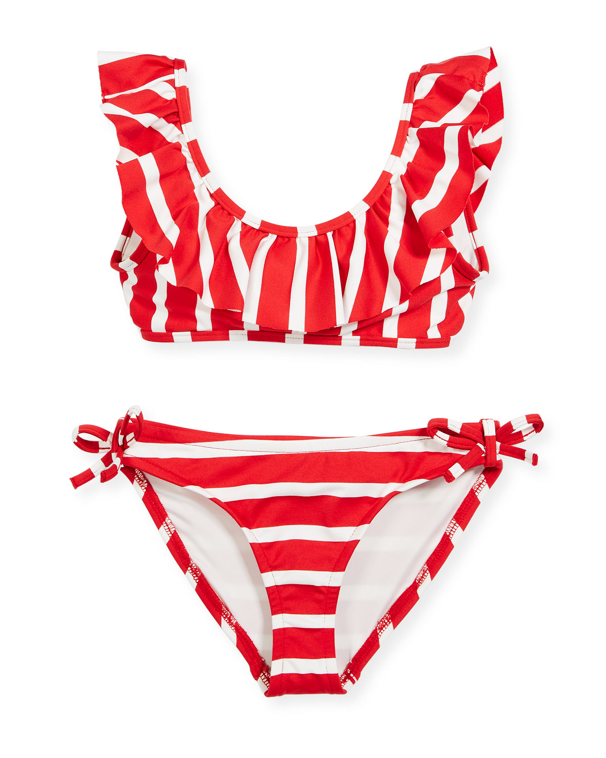 Striped Ruffle Pinafore Two-Piece Swimsuit, Size 4-7