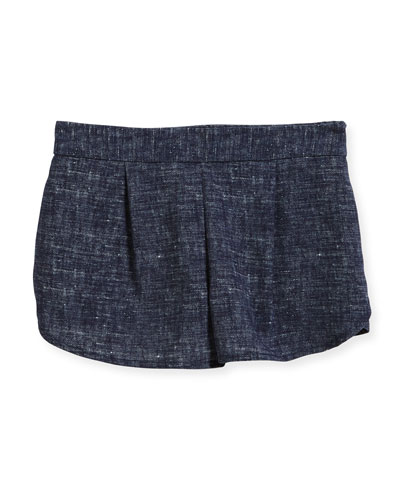 Stretch Crepe Print Petal Shorts, Size 8-16