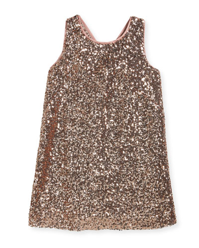 Sequin Bow-Back Shift Dress, Size 4-7