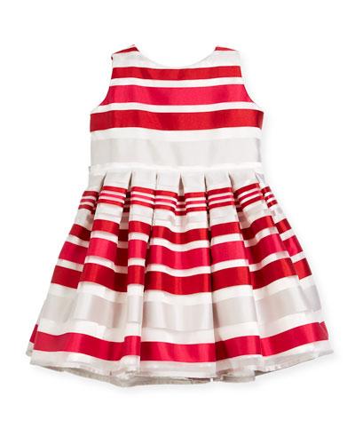 Satin Stripe Dress, Size 12-18 Months