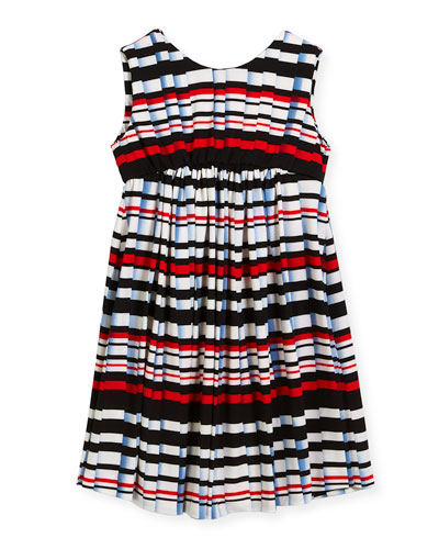 Stripe Pleat-Print Knit Dress, Size 7-14