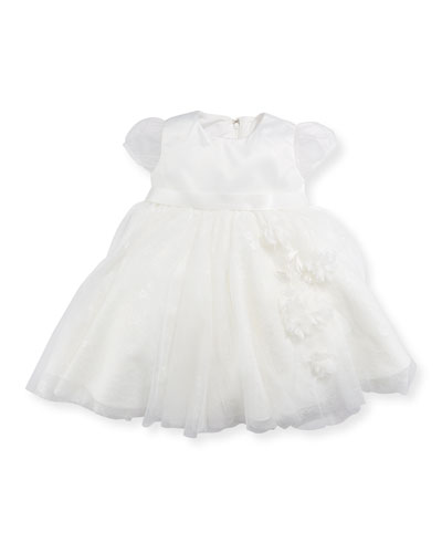 Cap-Sleeve Dress w/ Flower Details, Ivory, Size 6-24 Months