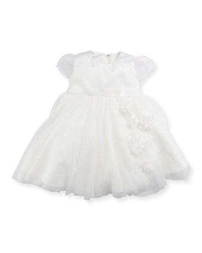 Cap-Sleeve Dress w/ Flower Details, Ivory, Size 6-24 Months