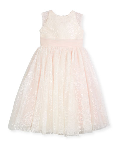 Sequin Tulle Special Occasion Dress, Ivory, Size 4-14