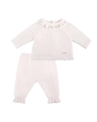 Ruffle-Collar Sweater w/ Matching Leggings, Pink, Size 1-6 Months