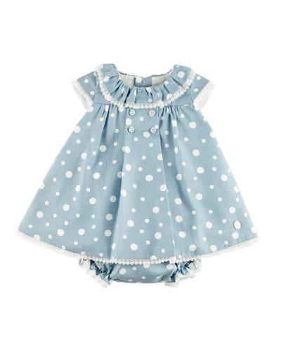 Polka-Dot Lace-Trim Dress w/ Ruffle Bloomers, Blue, Size 3-18 Months