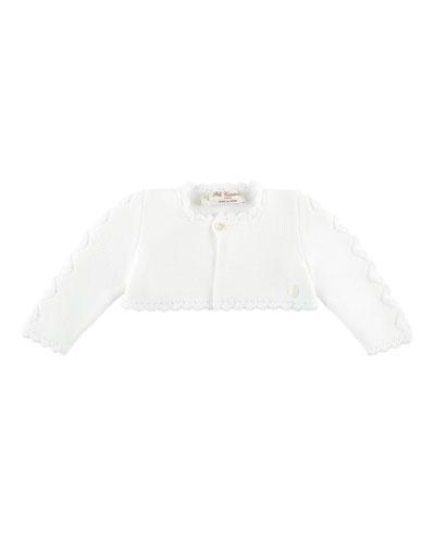 Short Cotton Knit Ruffle Cardigan, White, Size 3M-3Y