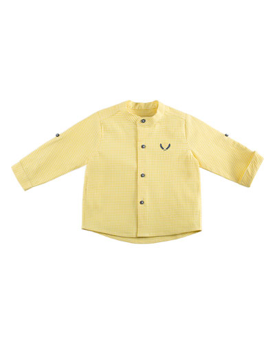 Check Mandarin-Collar Shirt, Yellow, Size 12M-3Y